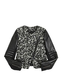 MISS GRANT | Boucle Faux Leather Biker Jacket