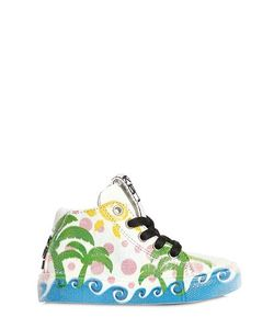 BE KOOL | Palm Trees Leather High Top Sneakers