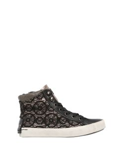 Crime | Glitter Leather Lace High Top Sneakers