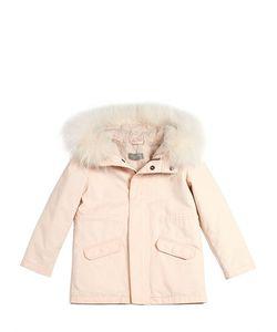YVES SALOMON ENFANT   Gabardine Cotton Parka W/ Fur