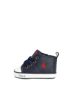 RALPH LAUREN CHILDRENSWEAR | Embroidered Logo Leather Sneakers