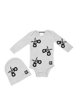 ROCK STAR BABY | Printed Light Cotton Bodysuit Hat