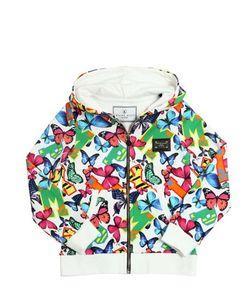 PHILIPP PLEIN JUNIOR   Butterfly Print Hooded Cotton Sweatshirt