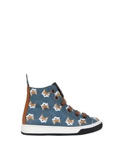 MAÁ | Fox Print Leather High Top Sneakers