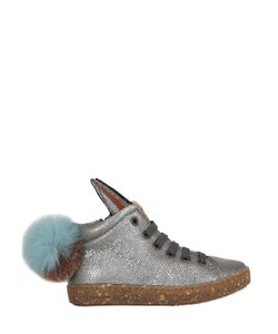 Ocra   Embossed Leather Sneakers W/ Pompoms
