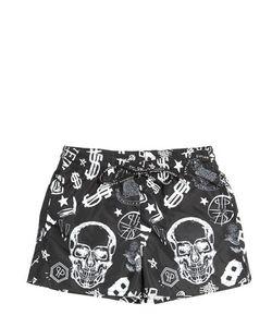PHILIPP PLEIN JUNIOR   Skull Printed Nylon Swimming Shorts
