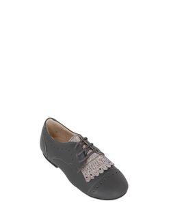MANUELA DE JUAN | Leather Lace-Up Shoes W/ Glitter