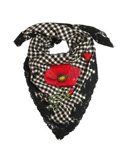 Péro | Embroidered Wool Flannel Lace Scarf