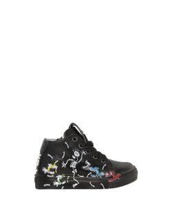 BE KOOL | Skeleton Print Leather High Top Sneakers