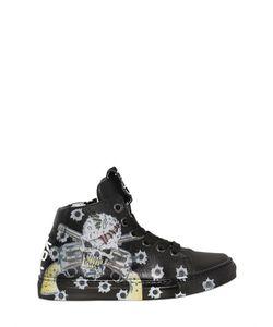 BE KOOL | Skull Print Leather High Top Sneakers