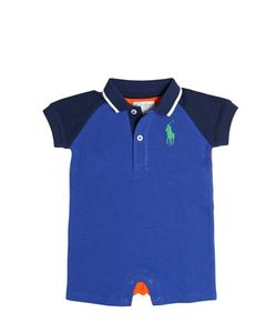 RALPH LAUREN CHILDRENSWEAR | Two Tone Cotton Piqué Polo Romper