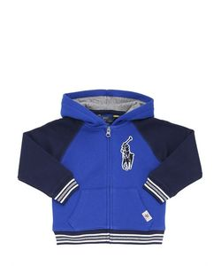 RALPH LAUREN CHILDRENSWEAR | Logo Patch Cotton Zip Up Sweatshirt