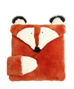 YVES SALOMON ENFANT   Fox Shaped Rex Fur Pillow Case
