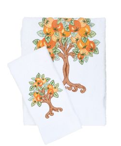 LORETTA CAPONI | Embroidered Orange Tree Towel Set