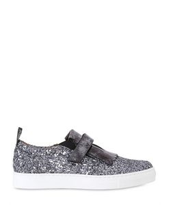MAÁ | Glittered Leather Slip-On Sneakers