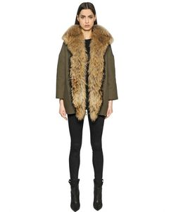 AVA ADORE | Cotton Canvas Coat With Murmansky Fur