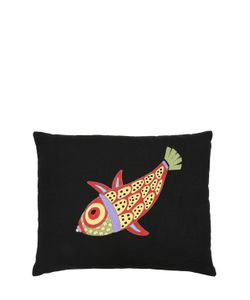 LORETTA CAPONI | Mendini Fish Embroidered Accent Pillow