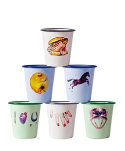 SELETTI WEARS TOILET PAPER | Set 6 Graphic Printed Metal Cups
