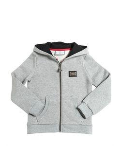 PHILIPP PLEIN JUNIOR   Hooded Logo Cotton Zip-Up Sweatshirt