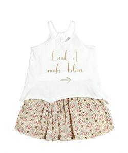 STICKY-FUDGE | Cotton Jersey Top Printed Cotton Skirt