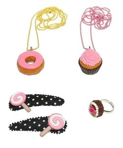 POP CUTIE | Cupcakes Ring Necklaces Hairclips Set