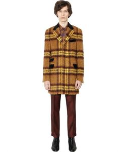 LORDS & FOOLS | Checked Mohair Alpaca Blend Coat