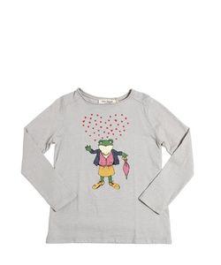 Nice Things Mini | Hearts Frog Printed Cotton T-Shirt