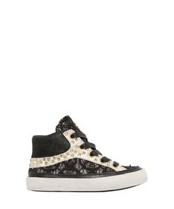 Crime | Studded Leather Lace High Top Sneakers