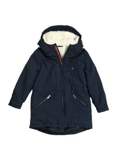 Paul Smith Junior | Cotton Canvas Faux Shearling Parka