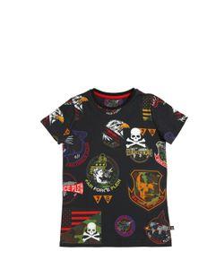 PHILIPP PLEIN JUNIOR   Printed Patches Cotton Jersey T-Shirt