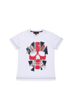 RICHMOND JUNIOR | Flag Skull Printed Cotton Jersey T-Shirt