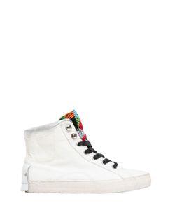 Crime | Cotton Canvas High Top Sneakers