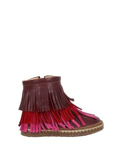 Ocra | Leather Ankle Boots W/ Fringe