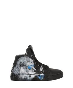 BE KOOL | Lion Print Leather High Top Sneakers