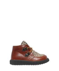 Ocra   Leather Ponyskin Derby Lace-Up Shoes