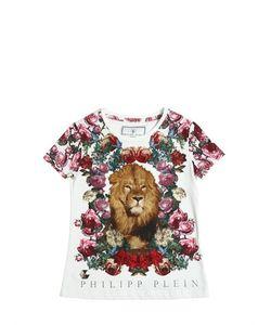 PHILIPP PLEIN JUNIOR   Embellished Lion Cotton Jersey T-Shirt