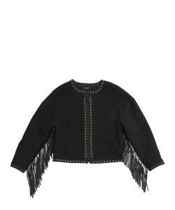 JAKIOO | Neoprene Jacket W/ Faux Leather Fringe