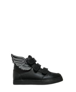 YPORQUÉ | Leather High Top Sneakers W/ Wings