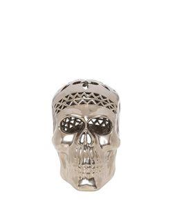 HAYEK STUDIO   Catrina Ceramic Skull With Glaze