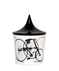 CERAMICA GATTI 1928 | White Bicycle Candle W/ Lid