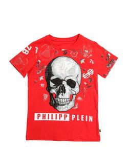 PHILIPP PLEIN JUNIOR   Skull Printed Cotton Jersey T-Shirt