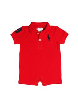 RALPH LAUREN CHILDRENSWEAR | Big Pony Cotton Piqué Polo Romper