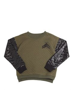 Diesel Kids   Sequined Quilted Cotton Sweatshirt