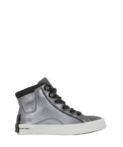 Crime | Embossed Metallic Nappa Leather Sneakers