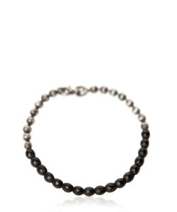 TITLE OF WORK | Ball Chain Bracelet With Leather Detail