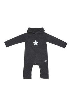ROCK STAR BABY | Flock Print Hooded Cotton Romper