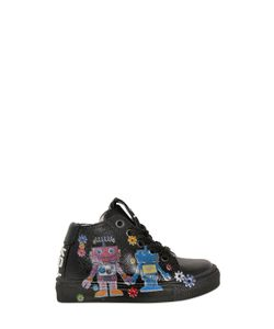 BE KOOL | Robots Print Leather High Top Sneakers