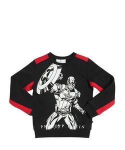 PHILIPP PLEIN JUNIOR   Superhero Embellished Cotton Sweatshirt
