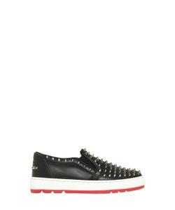 PHILIPP PLEIN JUNIOR   Studded Leather Slip-On Sneakers