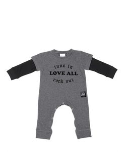 ROCK STAR BABY | Flocked Print Cotton Jersey Romper